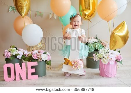 Smash Cake Party. Little Cheerful Birthday Girl With First Cake. Happy Infant Baby Celebrating His F