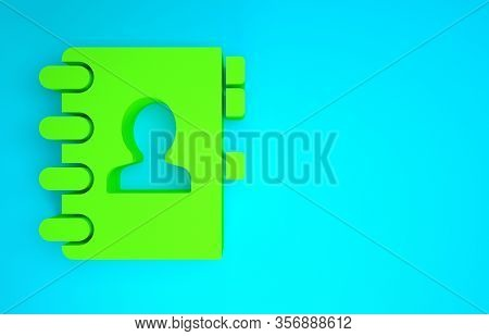 Green Address Book Icon Isolated On Blue Background. Notebook, Address, Contact, Directory, Phone, T