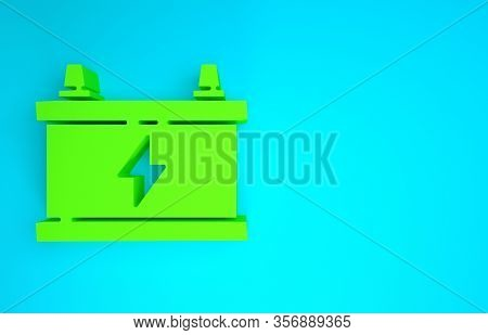 Green Car Battery Icon Isolated On Blue Background. Accumulator Battery Energy Power And Electricity