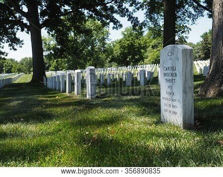 Washington D.c., Usa - June 4, 2019: Gravestone Of A World War Ii Veteran In Arlington National Ceme