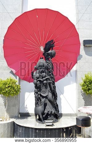 Paphos, Cyprus, Greece - June 4, 2018 : Statue Of Guan Yu, A Chinese General Serving Under The Warlo