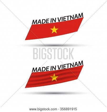 Two Modern Colored Vector Vietnamese Flags Isolated On White Background, Vietnamese Flags, Vietnames