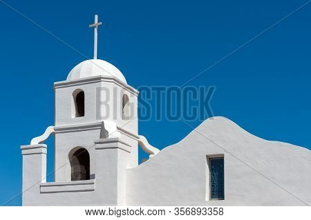 Bell Tower Of Historic Old Adobe Mission In Old Town Scottsdale, Arizona