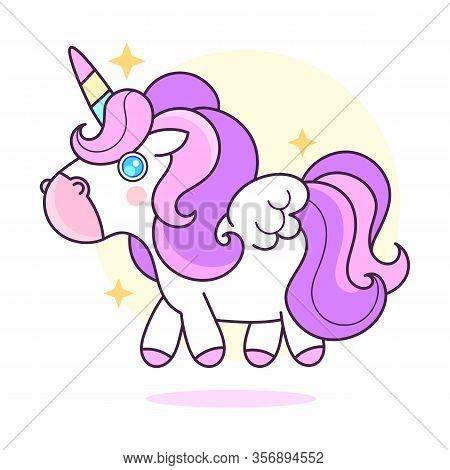 Cute Unicorn .vector Cartoon Character Illustration.design For Child Card, T-shirt.girls, Kid.magic