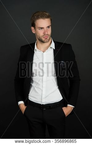 Confident And Successful. Business Coach Dark Background. Handsome Man In Business Wear. Professiona