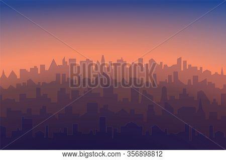Cityscape With Sunrise Or Sunset Background. Horizontal Morning Or Evening Landscape Of Modern City.