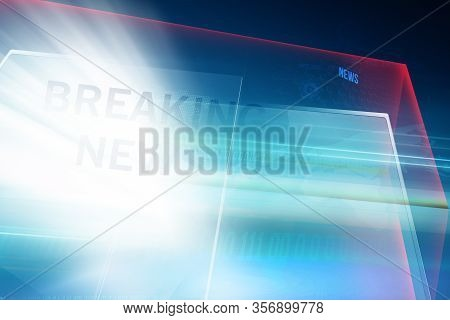 Modern Studio Space With Big Flat Screens Breaking News Text, Suitable For Breaking News Background.