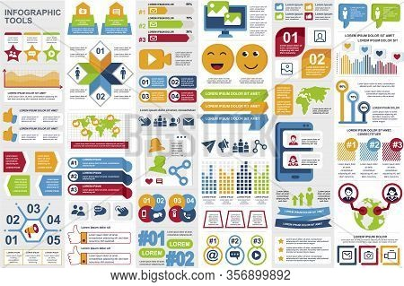 Social Media Network Infographic Elements Set. Social Marketing Data Visualization Templates Bundle.