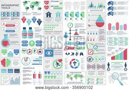 Medical Infographic Elements Set. Healthcare, Emergency And Medicine Industry Charts. Virology And G