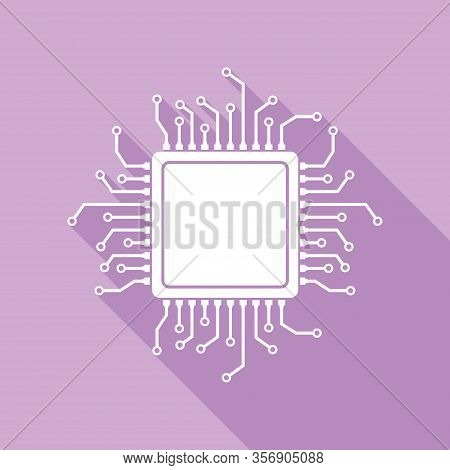 Cpu Microprocessor Illustration. White Icon With Long Shadow At Purple Background. Illustration.