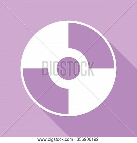 Cd Or Dvd Sign. White Icon With Long Shadow At Purple Background. Illustration.
