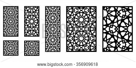 Set Of Decorative Moroccan Vector Panels For Laser Cutting. Template For Interior Partition In Arabe