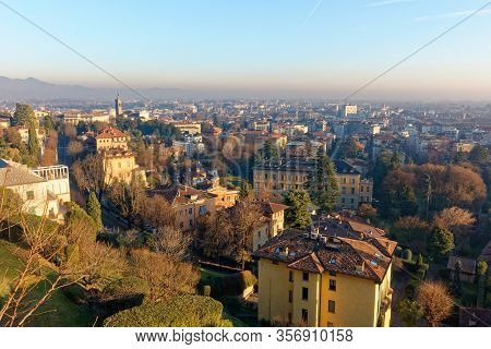 View Of Bergamo City From The Old City In Italy Italia