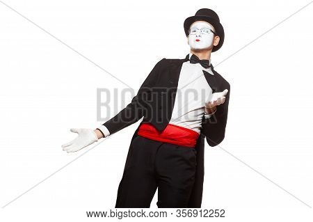Portrait Of A Male Mime Artist Performing, Isolated On White Background. Symbol Of Misunderstanding,