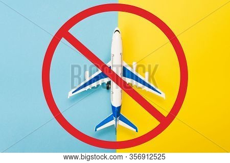 Abstract Runway With An Airplane Model. Template For Advertising Flights. Coronavirus Pandemic. Rest