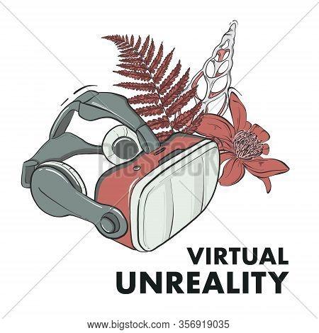 Virtual Reality Google Mask, Game Interacting Eyewear Wih Floral Bouquet And Text Virtual Unreality.