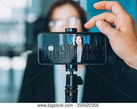 Business Coaching. Professional Video Blog. Male Assistant Recording Successful Woman Interview.