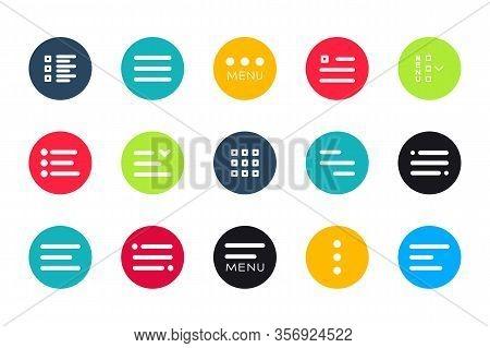 Menu Ui Design Elements Icons. Set Of Hamburger Menu Buttons. Website Navigation Icons For Mobile Ap