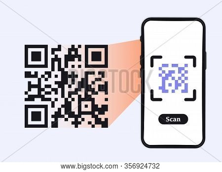 Smartphone Scanning Qr-code. Barcode Verification. Scanning Tag, Generate Digital Pay Without Money.