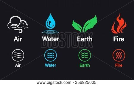 Four Elements Of Nature Air, Fire, Water, Earth. Elements Of The Nature - Earth, Water, Air And Fire