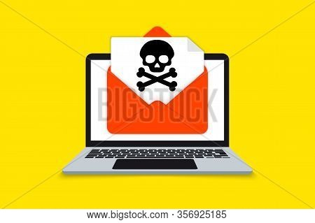 Alert Notification On Laptop Computer, Malware Concept, A Virus, Spam, Malicious Application Or Hack