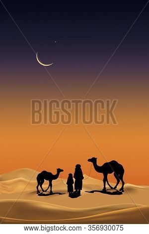 Arab Family With Camels Caravan Riding In Realistic Desert Sands.vertical Caravan Muslim Ride Camel