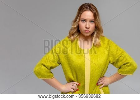 Portrait Of Displeased Upset Angry Female, Being Discontent And Unhappy As Can T Achieve Goals, Isol