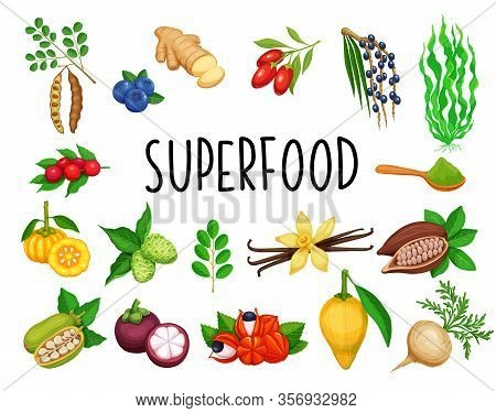 Superfood Fruit And Leafy Greens. Berries And Vegetables. Healthy Detox Natural Product Of Camu Camu