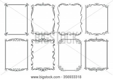 Calligraphic Frames. Wedding Ornamental Rectangular Set Frame, Flourishes Ornate Border, Decorative