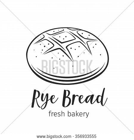 Rye Round Bread Outline Vector Hand Drawn Icon For Bakery Shop Or Food Design. Vector Illustration.