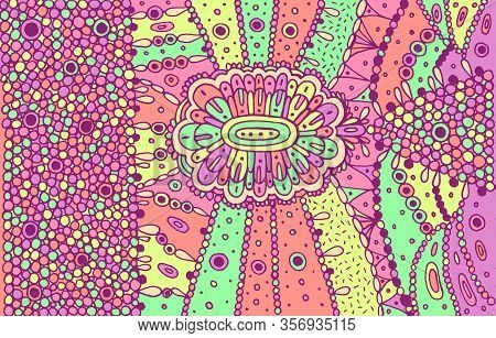 Mandala And Little Circles. Psychedelic Colorful Hippie Surreal Illustration. Abstract Line Art. Doo