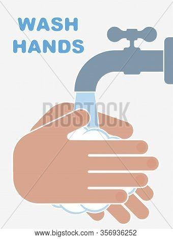 Hand Washing Flat Style Illustration. Novel Coronavirus Covid-19 2019-ncov Pandemic Outbreak. Protec