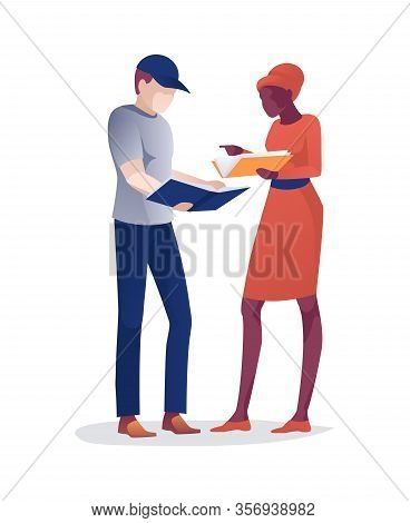Cartoon Afro American Woman And Caucasian Man Stand Holding Paper Books In Hands. Female And Male Li