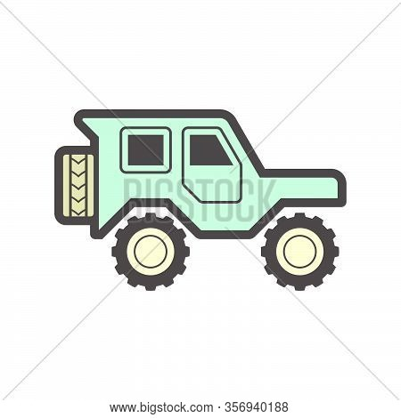 Off Road Vehicle Vector Icon Design On White Backgrtound.