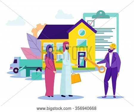 Arab Family Moves To New Home. Movement Towards Goal. Buying Home. Vector Illustration. Key In Hand.