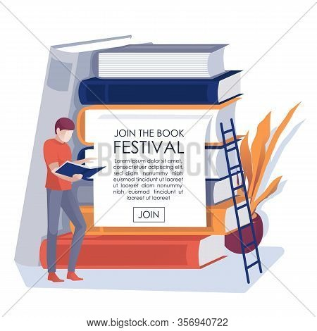 Book Festival Holiday Invitation Flat Text Banner. Cartoon Man Standing Near Giant Paper Editorial S