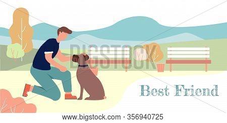 Best Friend Banner. Cartoon Man Pet Sitting Boxer Breed Dog Vector Illustration. Dog Training, Obedi