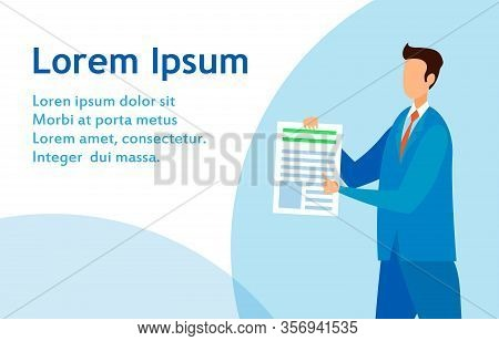 Common Lawyer, Legal Advisor Firm Flat Web Banner. Editor, Journalist Pointing On Article Flat Chara