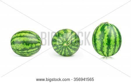 Collection Ripe Single Full Watermelon Berry Isolated On White Background. Three Colorful Watermelon