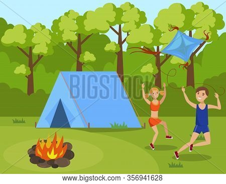 Children In Summer Camp Flat Vector Illustration. Cartoon Brother And Sister Playing, Launching Kite