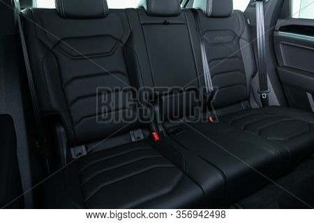 Novosibirsk, Russia - March 09, 2020:  Volkswagen Touareg, Rear Seat For Passengers In  Black Textil