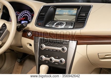 Novosibirsk, Russia - January  31, 2020:  Nissan Teana, Close-up Of The Central Control Panel, Monit