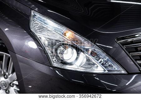 Novosibirsk, Russia - January  31, 2020:  Nissan Teana,  Detail Light Close Up Of On New Car. Exteri