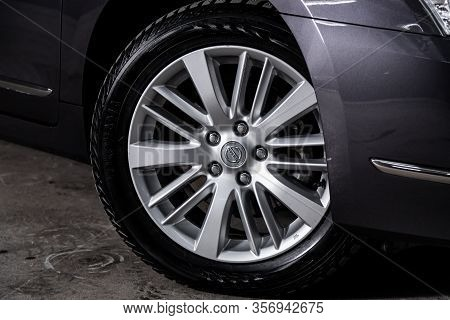 Novosibirsk, Russia - January  31, 2020:  Nissan Teana,  Car Wheel With Alloy Wheel And New Rubber O