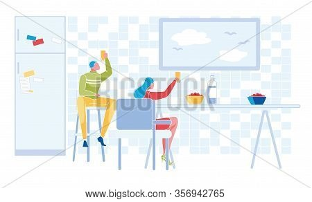 Young Man And Woman Couple Sitting On Chair In Kitchen Room Holding Beverage Enjoying Relax At Table