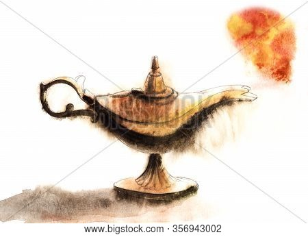 Watercolor Illustration Of Antique Mysterious Oil Lamp With Fiery Red Smoke Cloud Isolated On White