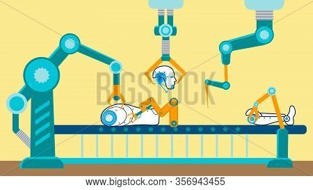 Robot Production Conveyor Flat Vector Illustration. Cyborg Parts, Separate Elements On Assembly Line
