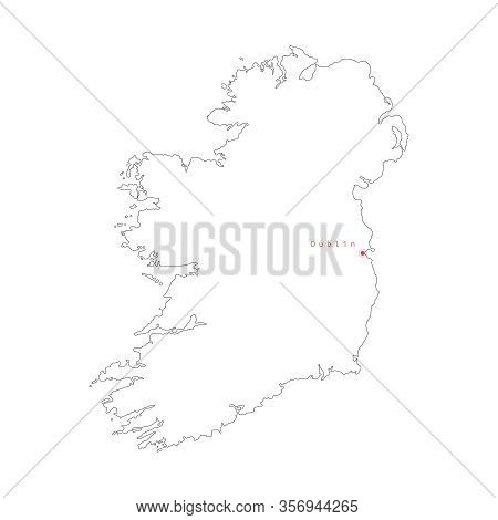 Vector Illustration Of Outline Ireland Map With Capital City Dublin.
