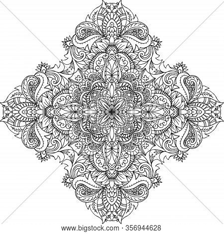 Abstract Round Linen Vector Pattern For Design, Coloring Book, Tattoo, Mehendi, T-shirt Print.