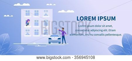 Advertising Text Banner With Man Waiting For Soul Mate. Flat Apartment Building. Cartoon Woman In Wi